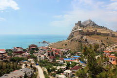 The city of Sudak in the Crimea, the view of the Genoese fortres Stock Image
