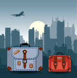 City with suitcases Royalty Free Stock Photo
