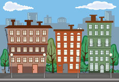 City in Summer. Illustration of City in Summer Stock Photo