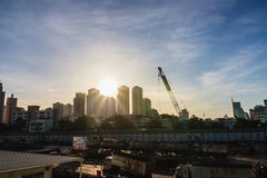 City with Sunbeam Royalty Free Stock Photos