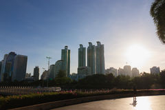 City with Sunbeam Royalty Free Stock Photo