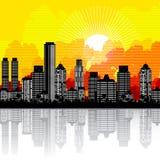 City and sunrise Stock Photography