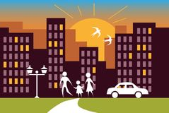 City sunrise and family. Color illustration of city houses at sunset, the family is walking on the street Royalty Free Stock Photo