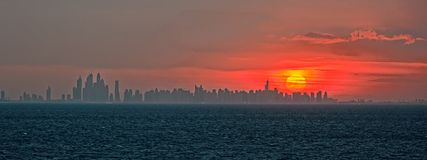 City Sunrise panorama Royalty Free Stock Image