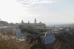 City Sunrise at Santorini with a church royalty free stock image