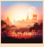 A city at sunrise. Stylized vector illustration of a city at sunrise royalty free illustration