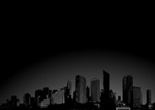 City with sunrise. Vector art. Royalty Free Stock Photos