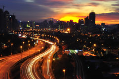City at sunset Royalty Free Stock Photography