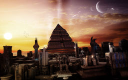 Futuristic Sci Fi City In The Sunset royalty free illustration