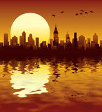City sunset. Sunset in a big modern city Stock Image