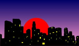 City sunset. Sunset in a big modern city royalty free illustration