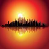 City at sunset Stock Image