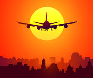 City Sunset & Afternoon Flight-Vector Royalty Free Stock Photo