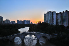 City sunset. 2014.4.23 on china City sunset Royalty Free Stock Images