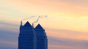 City on sunset. stock footage