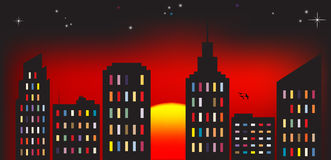 City sunset colorful Royalty Free Stock Image