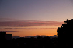 City sunset. Few clouds on this city sunset Stock Photography
