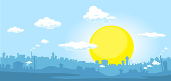 City at sunset - horizontal illustration Stock Photos