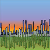 City Sunset Illustration. A fully scalable vector illustration of a city behind forest trees vector illustration