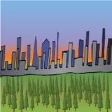 City Sunset Illustration Royalty Free Stock Image