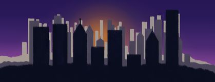 City on sunset. Illustration of a background city on sunset vector illustration