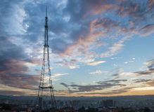 City and sunset stock photos