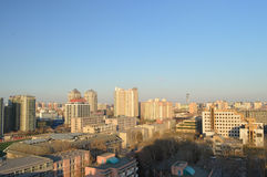 City sunset scenery. When the sun was going down, Beijing, China was covered with warm sunshine Royalty Free Stock Images