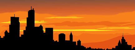 City sunset silhouette-vector Stock Photo