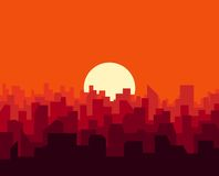 City sunset skyline urban landscape. Cityscape silhouette in flat style Stock Photos