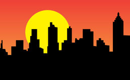 City At Sunset Time. Vector illustration of a city at sunset time Stock Photo