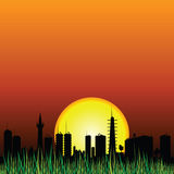City and the sunset vector silhouette Royalty Free Stock Photos