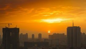City sunset xian china Royalty Free Stock Image