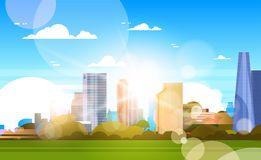 City In Sunshine Beautiful Skyline With Sunlight Over Skyscrapers Buildings Cityscape Concept vector illustration