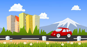 City surrounded by nature landscape with car Royalty Free Stock Images