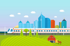 City, surroundings, landscape, fields and farms, subway, train, railroad, buildings. Modern train on the background of the city, surroundings, the landscape Stock Photos