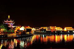 The Night scene in Suzhou city. The city of Suzhou was founded in 514 BC, 2500 years of history. Suzhou garden is the representative of China private garden, was royalty free stock photo