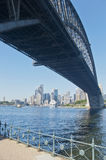 City bridge Milsons point. View across the harbour to the city of Sydney with the cruise ship Dawn Princess berthed at the Overseas passenger terminal 16th March Stock Image