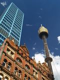 City of Sydney and Sydney Tower. Centre of Sydney and Sydney Tower Stock Photos