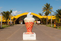 City symbol cashew on beach Atalaia, Aracaju, Sergipe state, Bra. ARACAJU, SE/BRAZIL - JUNE 27: City symbol cashew in front of Art and cultural center J Inacio Stock Image