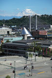 City of Tacoma 1. Tacoma Urban Landscape with Glass Museum & mount rainier Stock Images