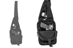 City tactical bag for concealed carrying weapons with a gun insi Royalty Free Stock Image