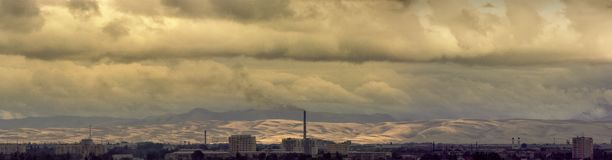 City `Taldykorgan`.  Panoramic image. Cloudy day. The Republic of Kazakhstan. royalty free stock photography