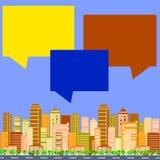City talks buildings. City talks, buildings and speech bubbles vector illustration