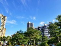 City of tall buildings stock photography