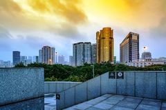 City tall buildings night view Royalty Free Stock Photo