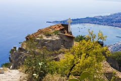 City of Taormina,church and sea bay Stock Images