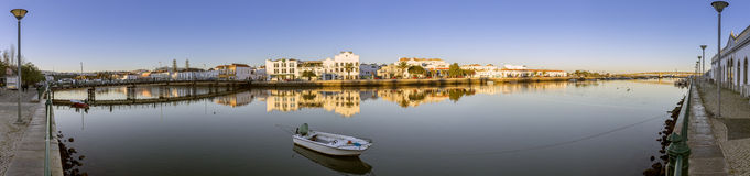 City of Tavira Gilão river waterfront panoramic view, at Algarve Stock Photography