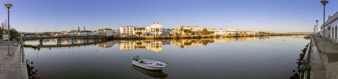 City of Tavira Gilão river waterfront panoramic view, at Algarve Stock Photography