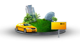 City taxi. Urban planet with taxi service
