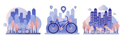 Bike rental. Background the city with skyscrapers. Flat style. stock illustration